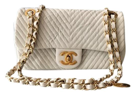 289825b0097693 Chanel Classic Flap Wrinkled Chevron White Leather Shoulder Bag ...