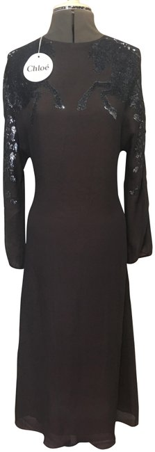 Item - Charcoal/Silver Sequined Stella Mccartney Wild Horses Charcoal/Silver Long Cocktail Dress Size 10 (M)