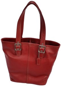 Coach Leather Silver Hardware Topstiching Tote in Red
