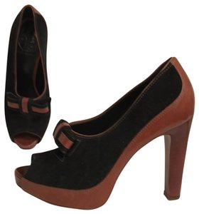 Tory Burch Suede Leather Hidden Platform Open Toe Bootie Black Brown Pumps