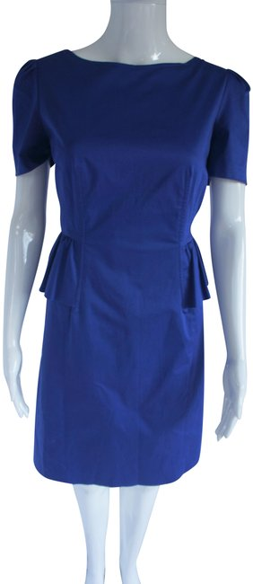Item - Blue Cheap and Chic Short Sleeves and Ruffles Cotton Mid-length Work/Office Dress Size 8 (M)
