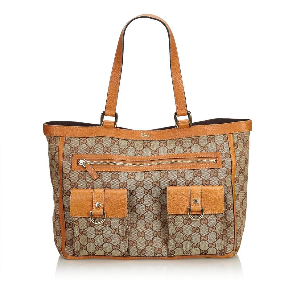 c55e930ae Gucci Abbey Beige Fabric Gg Pocket Italy Brown Canvas Leather Tote ...