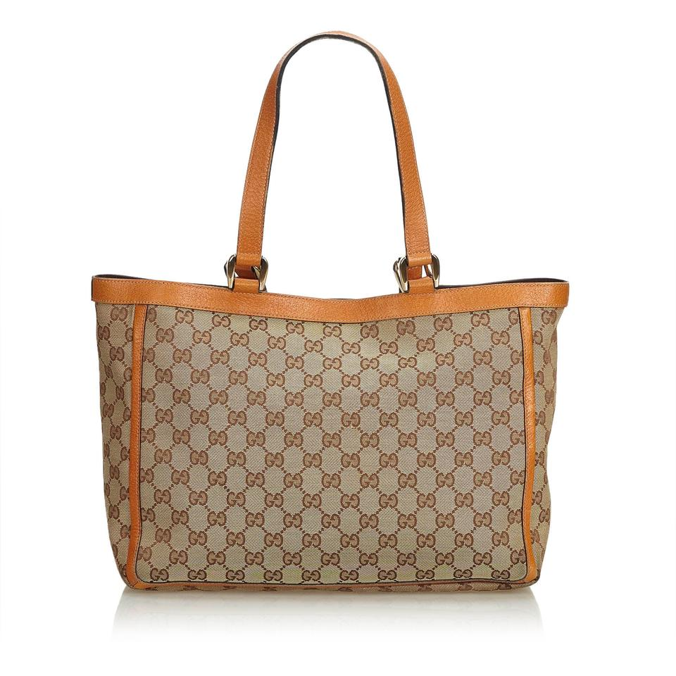 577b5fe694bc Gucci Abbey Beige Fabric Gg Pocket Italy Brown Canvas Leather Tote ...