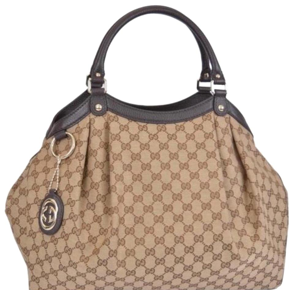 c4aee150d89 Gucci Sukey Large Monogram Dark Biege Brown Canvas with Leather Trim Tote