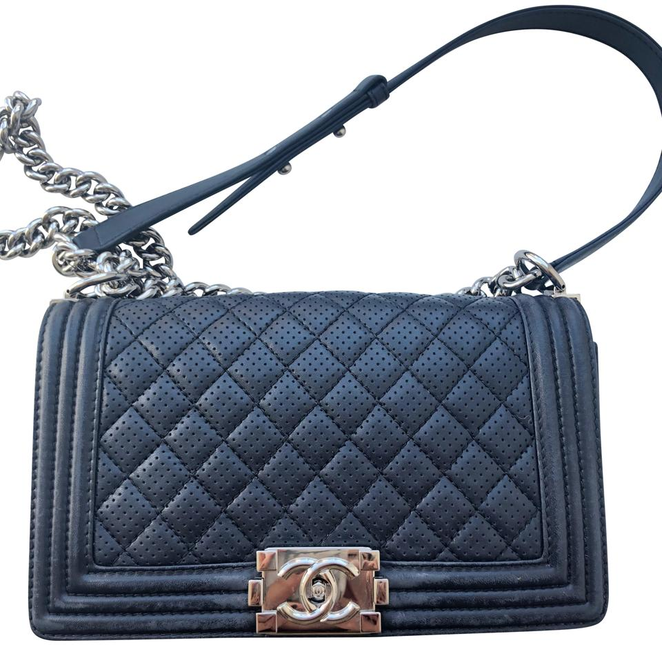 1cd8797fdc48 Chanel Boy Preowned Perforated Medium Navy Leather Cross Body Bag ...