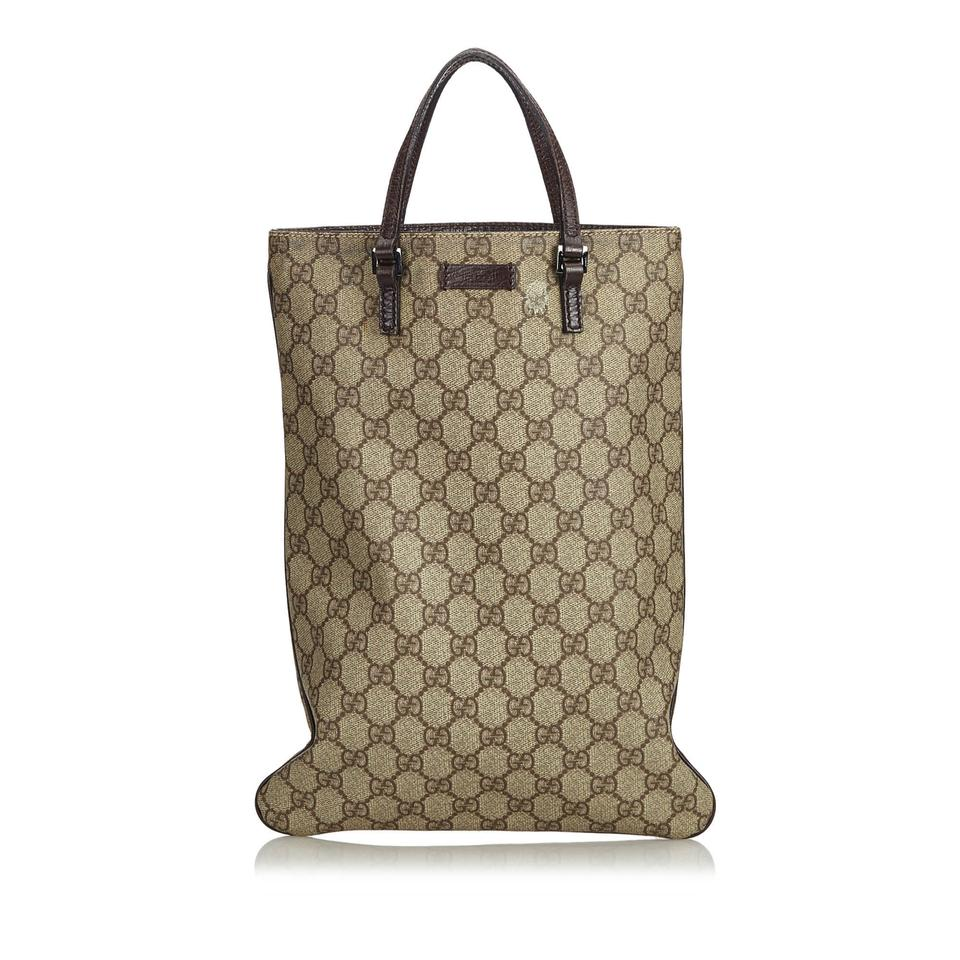 0d0c5d8b5c1 Gucci Beige Fabric Gg Supreme Italy Brown Coated Canvas Leather Tote ...
