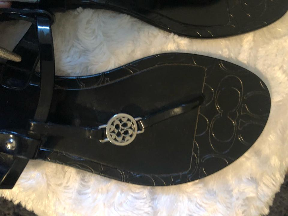 bf3118bdf Coach Black Flat Plastic Sandals Size US 9 Regular (M
