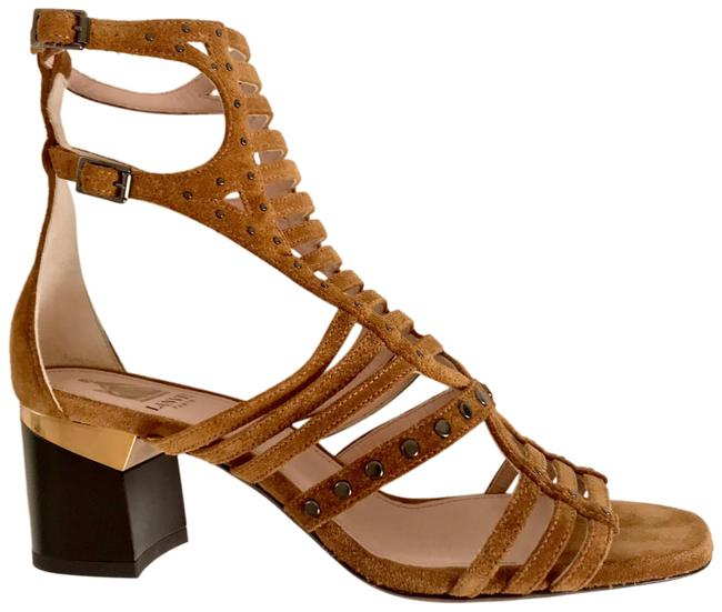Lanvin New Unworn Summer Rustic Tan Suede Gold Inlay Heel Pewter Studded Cage Gladiator Sandals Size EU 36 (Approx. US 6) Regular (M, B) Lanvin New Unworn Summer Rustic Tan Suede Gold Inlay Heel Pewter Studded Cage Gladiator Sandals Size EU 36 (Approx. US 6) Regular (M, B) Image 1