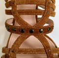 Lanvin New Unworn Summer Rustic Tan Suede Gold Inlay Heel Pewter Studded Cage Gladiator Sandals Size EU 36 (Approx. US 6) Regular (M, B) Lanvin New Unworn Summer Rustic Tan Suede Gold Inlay Heel Pewter Studded Cage Gladiator Sandals Size EU 36 (Approx. US 6) Regular (M, B) Image 8