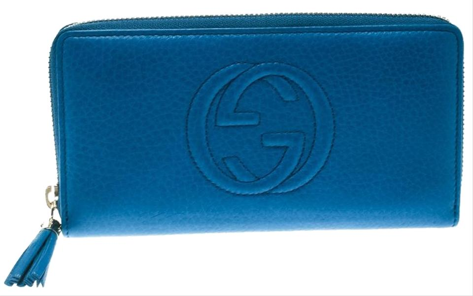 f7b6465b3a7 Gucci Blue Leather Soho Zip Around Wallet Image 0 ...