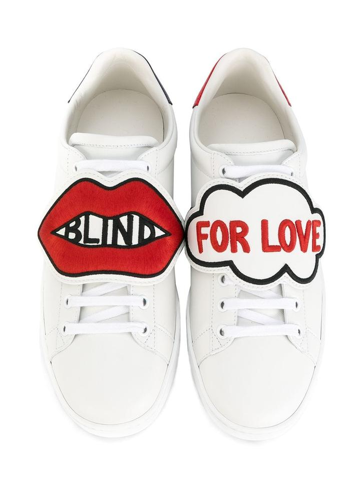 83c08a64b1b Gucci White Blind For Love New Ace Gg Logo Red Leather Flat Patch ...