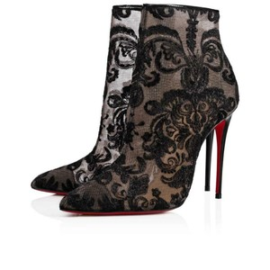 Christian Louboutin Ankle Heels Lace Gipsy Black Boots