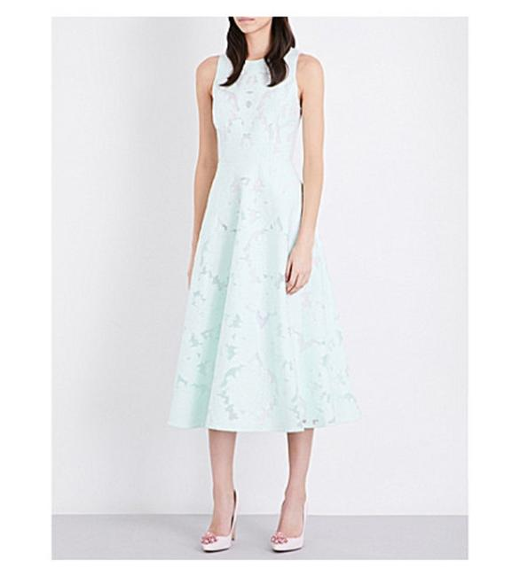 Item - Mint Green Roshi Burn Out Lace Tie The Knot Midi Lace Mid-length Cocktail Dress Size 8 (M)