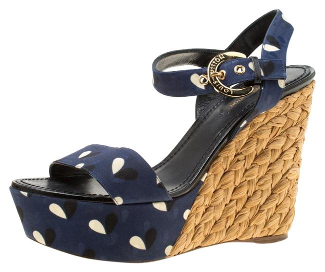 Item - Blue Printed Fabric Espadrille Wedge Sandals Size EU 38 (Approx. US 8) Regular (M, B)