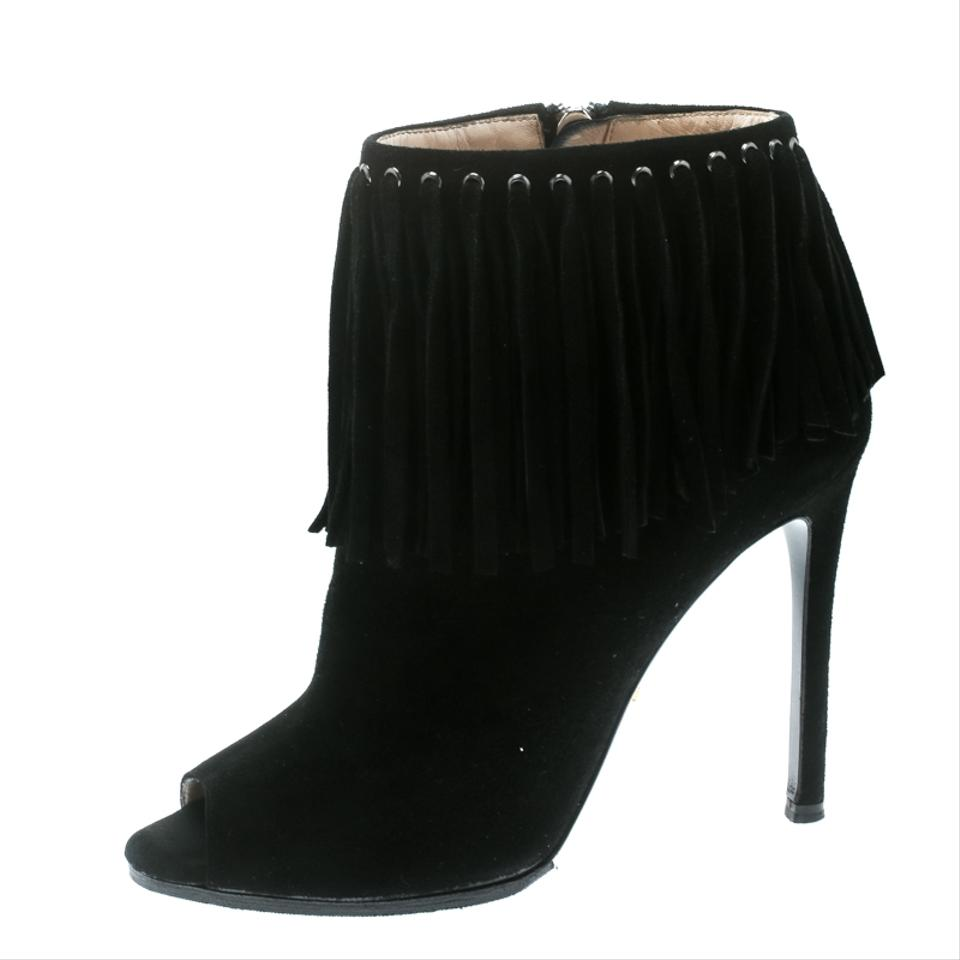 73cce7c7309 Prada Black Suede Fringe Detail Peep Toe Ankle Boots Booties Size EU ...