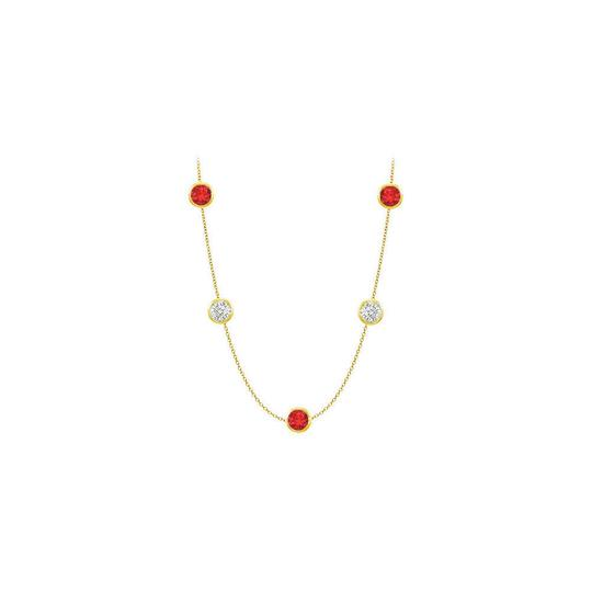 Preload https://img-static.tradesy.com/item/25192160/red-created-ruby-and-cz-14k-yellow-gold-bezel-set-5000-cttw-necklace-0-0-540-540.jpg