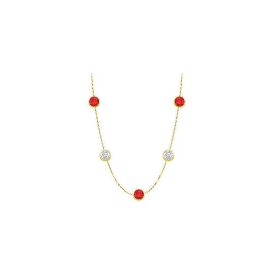 Preload https://img-static.tradesy.com/item/25192171/red-created-ruby-and-cz-14k-yellow-gold-bezel-set-3500-cttw-necklace-0-0-540-540.jpg