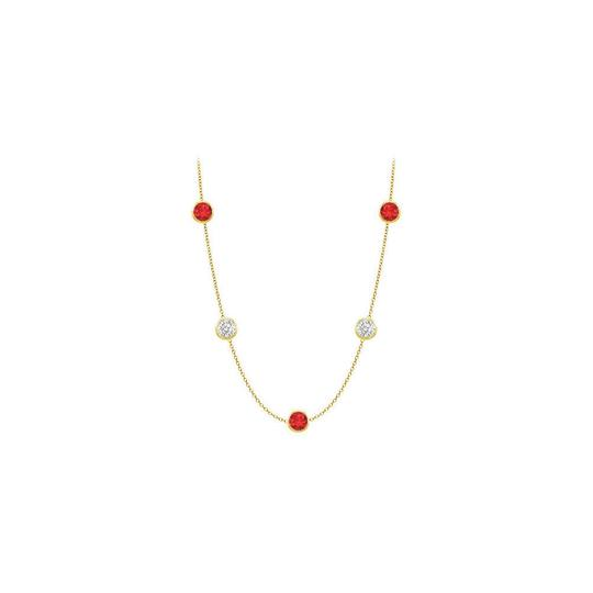 Preload https://img-static.tradesy.com/item/25192182/red-created-ruby-and-cz-14k-yellow-gold-bezel-set-2500-cttw-necklace-0-0-540-540.jpg