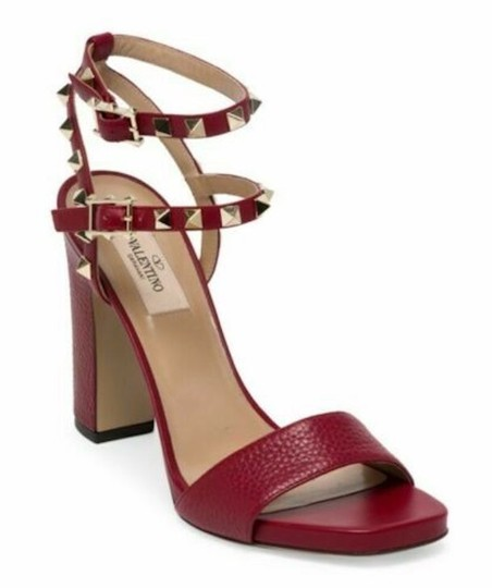 Valentino Studded Pointed Toe Leather Ankle Strap Branded Insole Burgundy Pumps Image 0