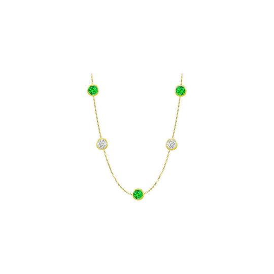 Marco B Created Emeralds and CZ Necklace on 14K Yellow Gold Bezel Set 50.00 ct Image 0