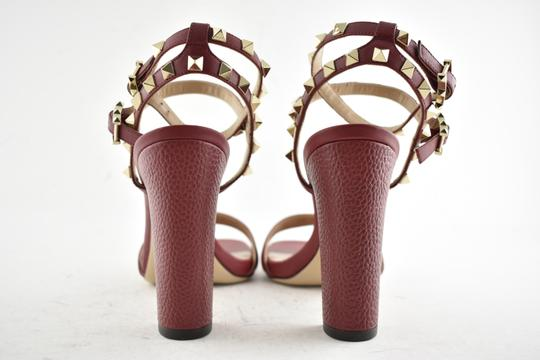 Valentino Studded Pointed Toe Leather Ankle Strap Branded Insole Burgundy Pumps Image 10