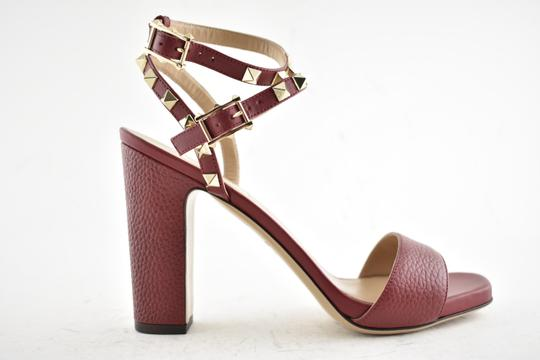 Valentino Studded Pointed Toe Leather Ankle Strap Branded Insole Burgundy Pumps Image 3