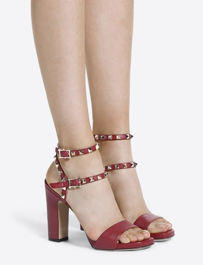 Valentino Studded Pointed Toe Leather Ankle Strap Branded Insole Burgundy Pumps Image 4