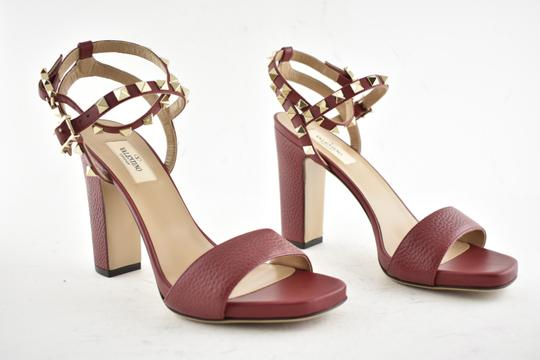 Valentino Studded Pointed Toe Leather Ankle Strap Branded Insole Burgundy Pumps Image 5