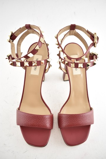 Valentino Studded Pointed Toe Leather Ankle Strap Branded Insole Burgundy Pumps Image 7