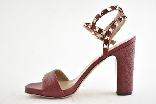 Valentino Studded Pointed Toe Leather Ankle Strap Branded Insole Burgundy Pumps Image 8