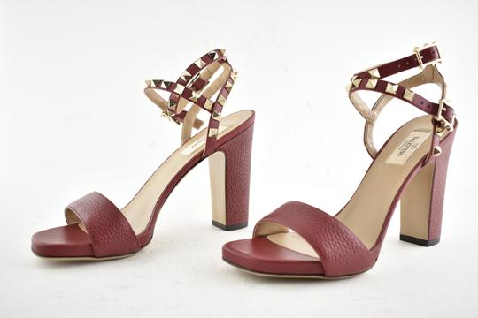 Valentino Studded Pointed Toe Leather Ankle Strap Branded Insole Burgundy Pumps Image 9