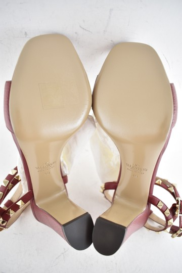 Valentino Studded Pointed Toe Leather Ankle Strap Branded Insole Burgundy Pumps Image 11