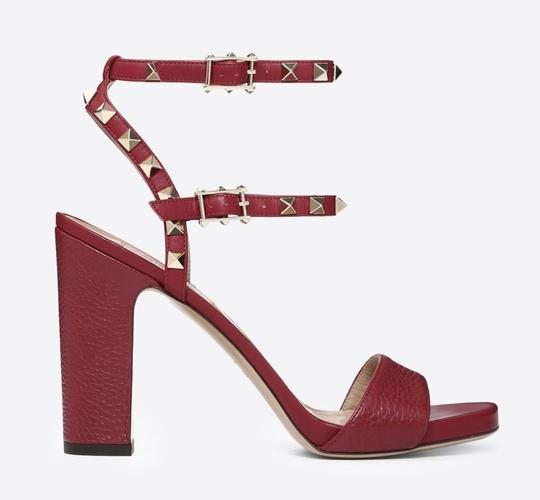 Valentino Studded Pointed Toe Leather Ankle Strap Branded Insole Burgundy Pumps Image 2
