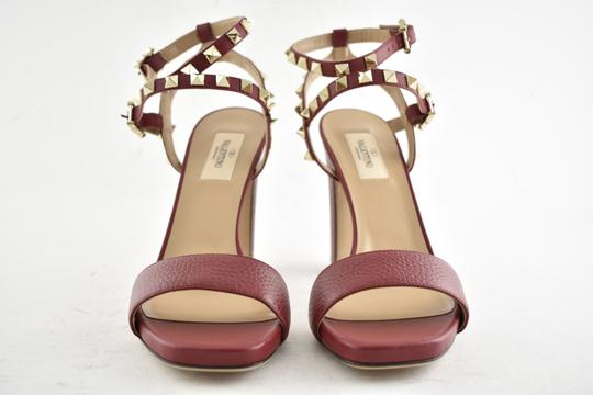 Valentino Studded Pointed Toe Leather Ankle Strap Branded Insole Burgundy Pumps Image 6