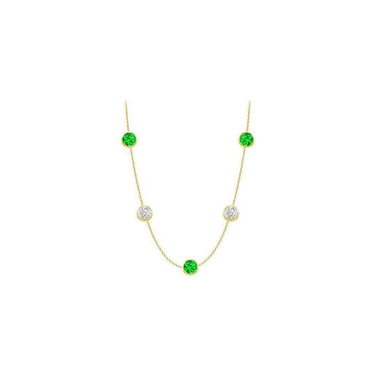 Preload https://img-static.tradesy.com/item/25192201/green-created-emeralds-and-cz-14k-yellow-gold-bezel-set-3500-ct-necklace-0-0-540-540.jpg