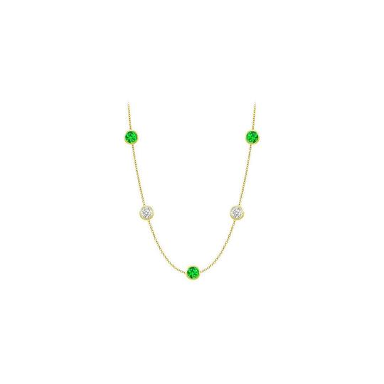 Preload https://img-static.tradesy.com/item/25192210/green-created-emeralds-and-cz-14k-yellow-gold-bezel-set-2500-ct-necklace-0-0-540-540.jpg