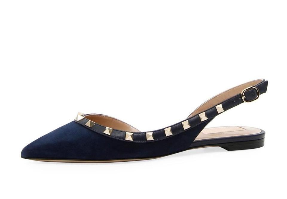 7283fecae6a0 Valentino Studded Ballerina Ballet Pointed Toe Blue Flats Image 0 ...
