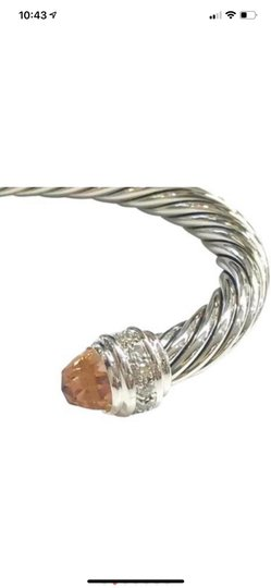 David Yurman sterling silver 7mm cable classic cuff bracelet with diamonds Image 1