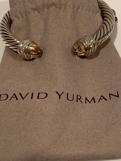 David Yurman sterling silver 7mm cable classic cuff bracelet with diamonds Image 4