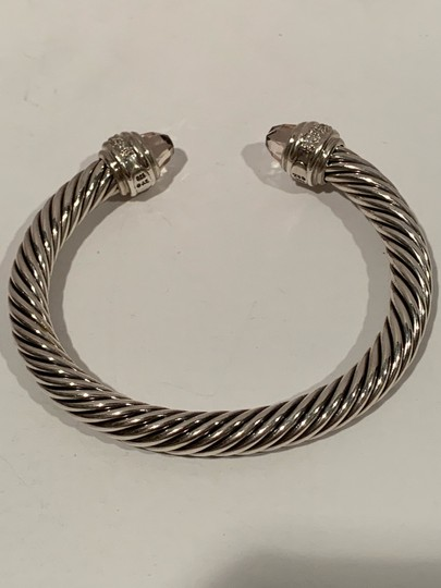 David Yurman sterling silver 7mm cable classic cuff bracelet with diamonds Image 5