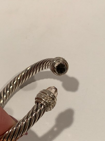 David Yurman sterling silver 7mm cable classic cuff bracelet with diamonds Image 7