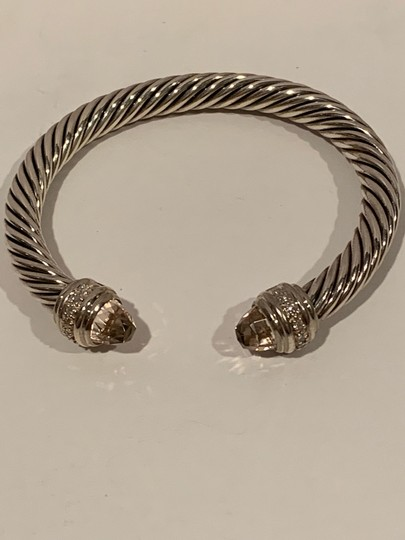 David Yurman sterling silver 7mm cable classic cuff bracelet with diamonds Image 8