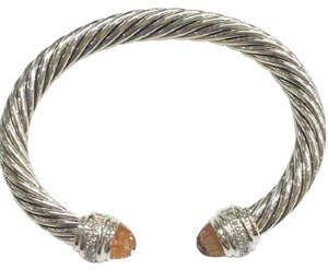 David Yurman sterling silver 7mm cable classic cuff bracelet with diamonds