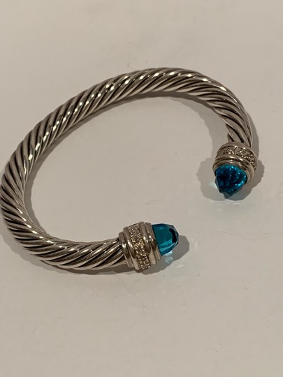 David Yurman sterling silver 7mm cable classic cuff bracelet with diamond Image 1