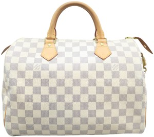 Louis Vuitton Lv Speedy 30 Azur Canvas Tote in White