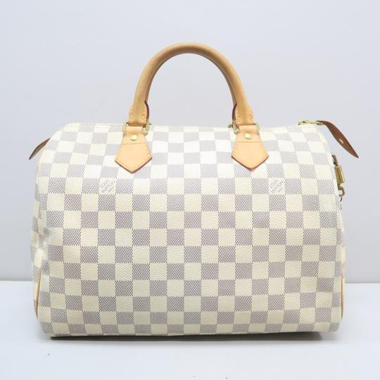 Louis Vuitton Lv Speedy 30 Azur Canvas Tote in White Image 1