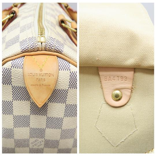 Louis Vuitton Lv Speedy 30 Azur Canvas Tote in White Image 10