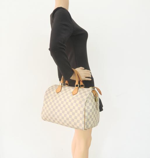 Louis Vuitton Lv Speedy 30 Azur Canvas Tote in White Image 11