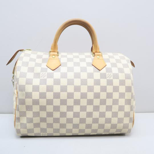Louis Vuitton Lv Speedy 30 Azur Canvas Tote in White Image 2