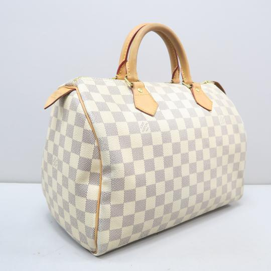 Louis Vuitton Lv Speedy 30 Azur Canvas Tote in White Image 3
